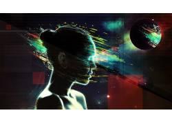轮廓,数字艺术,油漆飞溅,行星,妇女,抽象,空间51750