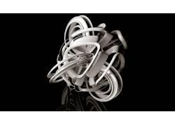 数字艺术,黑色的背景,极简主义,3D,抽象,反射,闪亮,白色185420