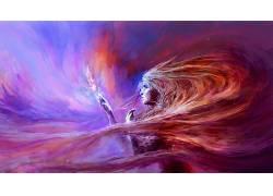 艺术品,幻想艺术,妇女,抽象,华美105056