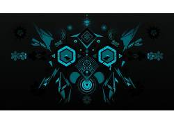 数字艺术,黑色的背景,极简主义,抽象,对称,饰,几何,六边形,雪花,