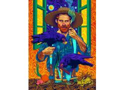 文森特 - 梵高,抽烟,华美,抽象,乌鸦,油画刷,向日葵,迷幻663362