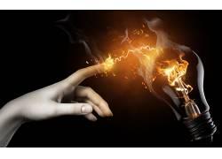 艺术品,幻想艺术,抽象,火,灯泡,手指,电力,数字艺术,简单的背景,