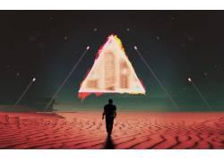故障艺术,空间,科幻小说,抽象,三角形,行星,男人527932