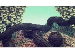 立方体,抽象,数字艺术,几何,艺术品,3D,CGI228411