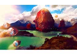 水晶,山,桥,数字艺术,艺术品,抽象,超现实主义50317