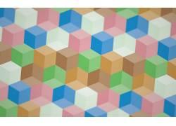 数字艺术,华美,3D,立方体,景深,光学错觉,艺术品,抽象,柔和,几何2