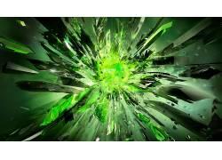 水晶,绿色,爆炸,抽象,数字艺术,Nvidia公司319