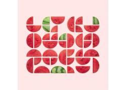 水果,西瓜,抽象,艺术品,几何,极简主义,简单的背景,圈,克里斯汀迈