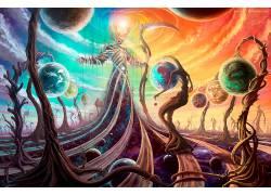 迷幻,神,抽象,镰,空间,行星,幻想艺术650140