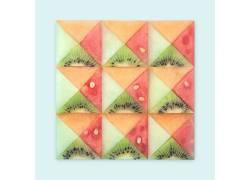 水果,西瓜,抽象,艺术品,几何,极简主义,简单的背景,奇异果),三角