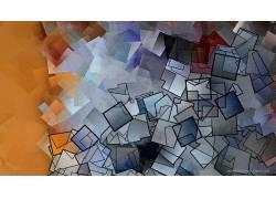 杰森弗里德曼,抽象,数字艺术,橙子,蓝色,广场,模式,质地,大纲3479