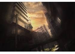 艺术品,数字艺术,抽象,黑暗,被遗弃的城市,建造,桥,幻想艺术40876