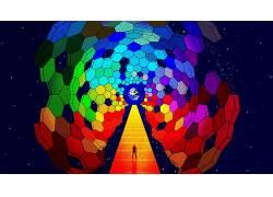 沉思,蓝色,抽象,数字艺术21678图片
