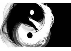 阴阳,单色,抽象,数字艺术19996