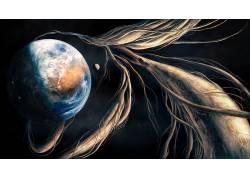 艺术品,科幻小说,抽象,空间,宇宙,地球,行星,月亮618707图片