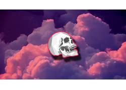 数字艺术,头骨,云,极简主义,抽象411775