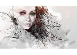 蓝眼睛,妇女,数字艺术,肖像,看着观众,艺术品,抽象,Photoshop中38