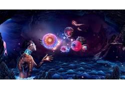 数字艺术,幻想艺术,妇女,性质,泛着,洞穴,岩,迷幻,领域,泡泡,墨镜