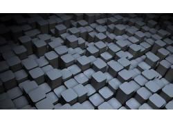极简主义,抽象,数字艺术,立方体,支柱,3D,灰色177387