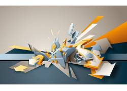 蓝色,黄色,灰色,箭头,形状,抽象,数字艺术,箭头(设计)13959
