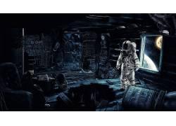 数字艺术,未来,宇航员,骨架,头骨,帽子,相机,机,齿轮,反射,木表面