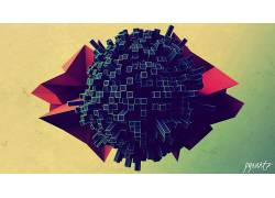 数字艺术,抽象,3D,CGI,pyxArtz,领域,3d对象454769