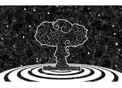 蘑菇云,树木,枪,手榴弹,抽象,艺术品1940