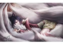 AHRI,英雄联盟,睡眠,动漫,动漫女孩,动物的耳朵,视频游戏185057