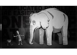 Antichamber,视频游戏,单色,幽默,象,艺术品,动画片,动物94746