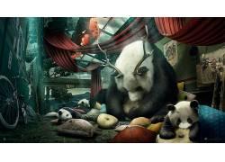 Desktopography,动物,熊猫,数字艺术112586