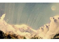 Desktopography,北极熊,动物,性质,月亮,熊,数字艺术102272