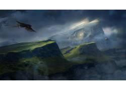 Desktopography,性质,山,动物,天空,数字艺术102329