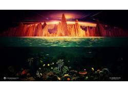 Desktopography,拆分视图,悬崖,鱼,海,龟,抽象,太空艺术,动物,数