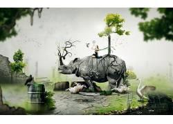 Desktopography,犀牛,动物,数字艺术,性质102283
