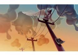 数字艺术,亚伦坎贝尔,动物,电线杆,狗,云,翅膀,幽默477595