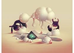 数字艺术,亚伦坎贝尔,幻想艺术,动物,超现实主义,3D,云477594