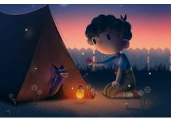 数字艺术,亚伦坎贝尔,幻想艺术,孩子,帐篷,灯泡,动物,蒲公英,篱笆