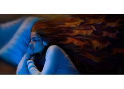 数字艺术,妇女,头发,睡觉,机器人,艺术品,绘画,幻想艺术,未来,科