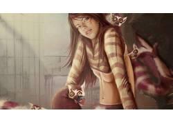 数字艺术,妇女,长发,动物,狐猴,underboob,幻想女孩,肚皮682265