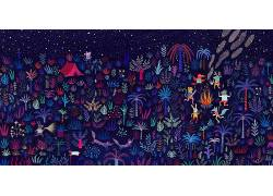 数字艺术,幻想艺术,童话,动物,树木,植物,火,跳舞,播放,乐器,鹿,