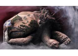 数字艺术,幻想艺术,龟,动物,龟,巨人,性质,瀑布,沙漠,砂,一对,岩,