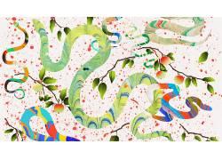 数字艺术,抽象,艺术品,动物,蛇,科,树叶,油漆飞溅,白色背景,水果,