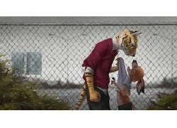 幻想艺术,动物,人形,虎479467