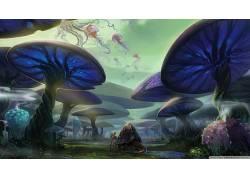 数字艺术,超现实主义,植物,神奇的蘑菇,海蜇,动物,幻想艺术,性质,