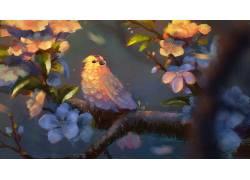 幻想艺术,绘画,艺术品,鸟类,动物398569