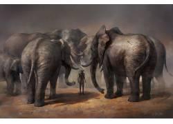 幻想艺术,艺术品,战士,象,动物646649