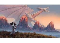 幻想艺术,草,山,动物,龙,河500260