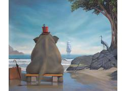 性质,动物,数字艺术,象,保罗邦德,绘画,艺术品,超现实主义,海,帆