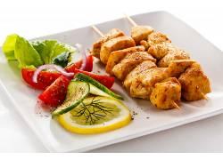 柠檬,炸鸡,烤羊肉串,大盘子,餐饮,动物,肉,死亡630040