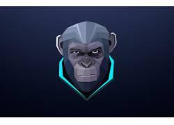 猿星球的黎明,抽象,类人猿,蓝色,黑暗,数字艺术,猴,动物,极简主义